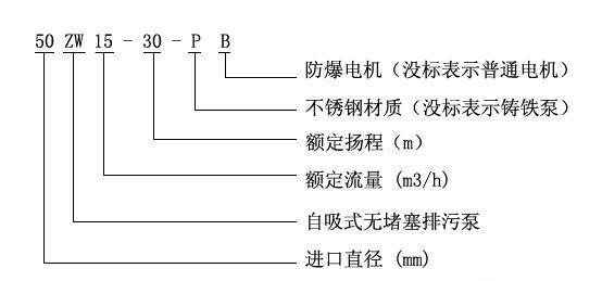 ZWPB型不锈钢防爆自吸式无堵塞排污泵型号意义