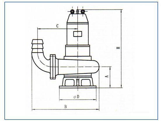 WQ潜水式无堵塞排污泵(移动式安装尺寸)